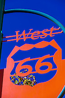 Ornamental street signs along Central Avenue NW (Historic Route 66) in downtown Albuquerque, New Mexico USA.