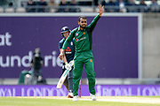 Faheem Ashraf of Pakistan appealing for the wicket of Joss Buttler during the second Royal London One Day International match between England and Pakistan at the Ageas Bowl, Southampton, United Kingdom on 11 May 2019.