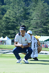 July 8, 2018 - White Sulphur Springs, WV, U.S. - WHITE SULPHUR SPRINGS, WV - JULY 08: Kevin Na reads his put on the 18th hole during the final round of the Military Tribute at the Greenbrier in White Sulphur Springs, WV, on July 8, 2018. (Photo by Brian Bishop/Icon Sportswire) (Credit Image: © Brian Bishop/Icon SMI via ZUMA Press)