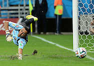 Keylor Navas of Costa Rica is beaten during the penalty shoot out during the 2014 FIFA World Cup match at the Itaipava Arena Fonte Nova, Nazare, Bahia<br /> Picture by Stefano Gnech/Focus Images Ltd +39 333 1641678<br /> 05/07/2014