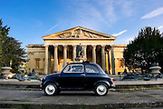 Early morning (sunrise) photograph of an original Fiat 500 outside the Victoria Rooms in Clifton Bristol. Photographed by Bristol based photographer Jonathan Bowcott