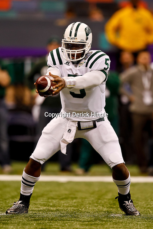 December 18, 2010; New Orleans, LA, USA; Ohio Bobcats quarterback Phil Bates (5) during the first half of the 2010 New Orleans Bowl against the Troy Trojans at the Louisiana Superdome.  Mandatory Credit: Derick E. Hingle