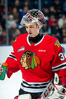 KELOWNA, BC - FEBRUARY 7: Joel Hofer #30 of the Portland Winterhawks cools down at the bench during second period against the Kelowna Rockets at Prospera Place on February 7, 2020 in Kelowna, Canada. Hofer was selected in the 2018 NHL entry draft by the St. Louis Blues. (Photo by Marissa Baecker/Shoot the Breeze)