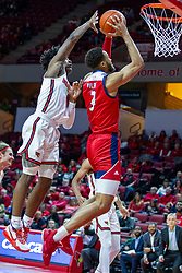 NORMAL, IL - December 18: Zach Copeland attempts a block from the back on a shot offered by Jacob Wiley during a college basketball game between the ISU Redbirds and the UIC Flames on December 18 2019 at Redbird Arena in Normal, IL. (Photo by Alan Look)