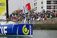 Francios Gabart the skipper of the IMOCA Open60 Macif. The start of Vendee Globe 2012. Les Sables d Olonne. France. .Credit: Lloyd Images