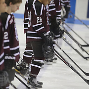 Union College players during introductions before the Yale Vs Union College, Men's College Ice Hockey game at Ingalls Rink, New Haven, Connecticut, USA. 28th February 2014. Photo Tim Clayton