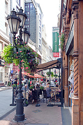 Sidewalk Cafe (Sorforra's Etterem) on Vaci Street, Budapest, Hungary. Váci utca (Váci street) is one of the main pedestrian thoroughfares and perhaps the most famous street of central Budapest, Hungary. It features a large number of restaurants and shops catering primarily to the tourist market.