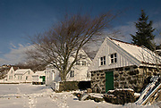 Norwegian winter garden.  Old house at the island of Hidra, south-western Norway, in December.