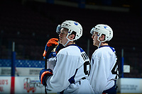 PENTICTON, CANADA - SEPTEMBER 9: Kailer Yamamoto #56 and Tyler Benson #49 of Edmonton Oilers stand on the ice during morning skate on September 9, 2017 at the South Okanagan Event Centre in Penticton, British Columbia, Canada.  (Photo by Marissa Baecker/Shoot the Breeze)  *** Local Caption ***