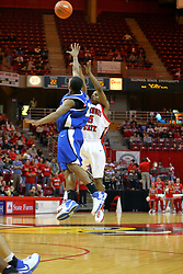 "06 January 2007: Keith ""Boo"" Richarson shoots over Gabriel Moore. The Sycamores of Indiana State University topped the Redbirds home 54 - 50 inside Redbird Arena in Normal Illinois on the campus of Illinois State University.<br />"