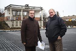 Matjaz Sekelj and Andrej Vidmar at preparation of stadium Bezigrad for Winter Classic of HDD Olimpija called Telemach Ice Fest 2013, on December 27, 2012 in Stadium Bezigrad, Ljubljana, Slovenia. (Photo By Matic Klansek Velej / Sportida.com)