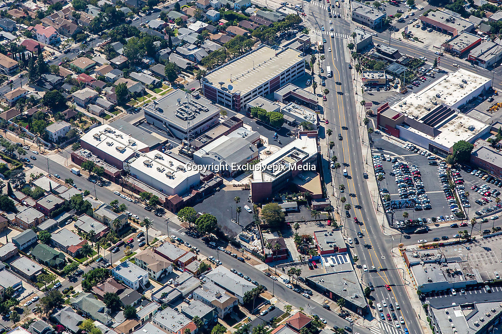 """EXCLUSIVE<br /> Aerial View of the new """"Scientology CNN's"""" brand new $50 million Hollywood studio.<br /> <br /> The Church of Scientology is starting a TV news network being dubbed 'Scientology's CNN' in a brand new $50 million Hollywood studio.<br /> And it's being built by being built by 50-cent an hour workers, claim former Scientologists familiar with the project.<br /> While all the buzz last week was that Scientology's biggest star was leaving the church, Daily Mail Online can reveal that nothing could be further from the truth. <br /> Scientology and Tom Cruise plan to take on the major movie studios and the TV networks and cable stations with the creation of Scientology Media Productions on Sunset Boulevard in the heart of Hollywood.<br /> The new studio will also be used to make 'propaganda' movies to recruit more followers while Cruise himself is set to film his Hollywood blockbusters at the glittering base, which has facilities that are set to rival Paramount studios.<br /> ©Exclusivepix Media"""