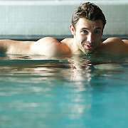 Vincent Clerc, France, during a recovery session in a hotel swimming complex, Auckland, in preparation for the IRB Rugby World Cup Final. Auckland, New Zealand, 17th October 2011. Photo Tim Clayton...