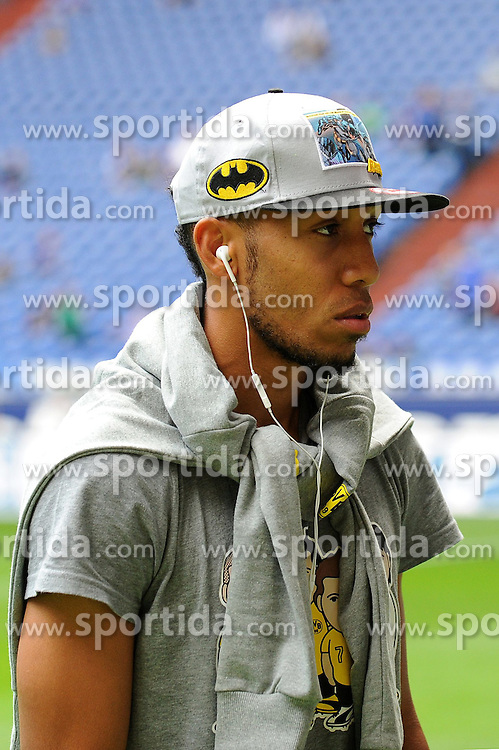 27.09.2014, Veltins Arena, Gelsenkirchen, GER, 1. FBL, Schalke 04 vs Borussia Dortmund, 6. Runde, im Bild Pierre Emerick Aubameyang ( Borussia Dortmund ) mit Batman Kappe. // during the German Bundesliga 6th round match between Schalke 04 and Borussia Dortmund at the Veltins Arena in Gelsenkirchen, Germany on 2014/09/27. EXPA Pictures &copy; 2014, PhotoCredit: EXPA/ Eibner-Pressefoto/ Thienel<br /> <br /> *****ATTENTION - OUT of GER*****
