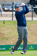 Tom Watson tees off for Round 3 of the Seniors Open at St Andrews, West Sands, Scotland on 28 July 2018. Picture by Malcolm Mackenzie.
