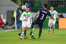 21.10.2015, Volkswagen Arena, Wolfsburg, GER, UEFA CL, VfL Wolfsburg vs PSV Eindhoven, Gruppe B, im Bild Simon Poulsen (#14, PSV Eindhoven), Christian Traesch (#15, VfL Wolfsburg), Hector Moreno (#3, PSV Eindhoven) // during UEFA Champions League group B match between VfL Wolfsburg and PSV Eindhoven at the Volkswagen Arena in Wolfsburg, Germany on 2015/10/21. EXPA Pictures © 2015, PhotoCredit: EXPA/ Eibner-Pressefoto/ Hundt<br /> <br /> *****ATTENTION - OUT of GER*****