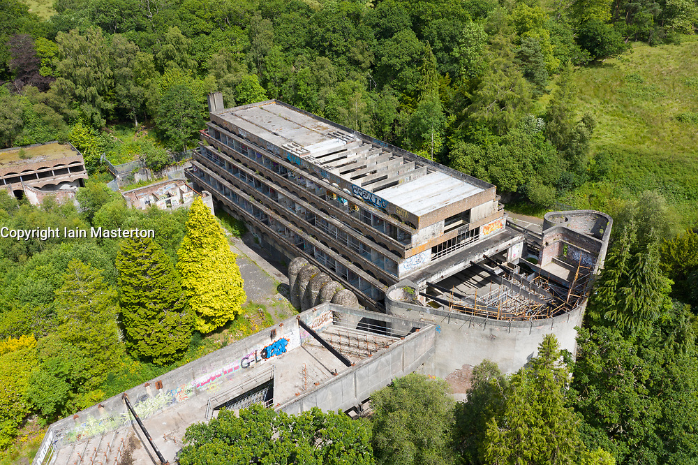 Elevated view of ruined building of former St Peter's Seminary in Cardross, Argyll and Bute, Scotland, UK.  Grade A listed, Architect Gillespie Kidd & Coia