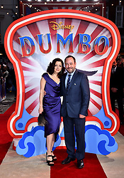 Leah Gallo and Derek Frey (right) attending the European premiere of Dumbo held at Curzon Mayfair, London.
