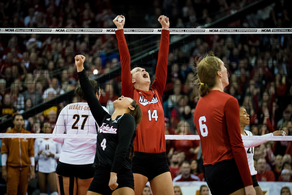 OMAHA, NE - DECEMBER 19: Outside hitter Kelsey Fien #14 and libero Justine Wong-Orantes #4 of the Nebraska react during their NCAA finals match against the Texas at the CenturyLink Center on December 19, 2015 in Omaha, Nebraska.  (Photo by Eric Francis)