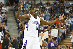 November 1, 2010; Sacramento, CA, USA;  Sacramento Kings center Samuel Dalembert (10) celebrates during the fourth quarter against the Toronto Raptors at the ARCO Arena. The Kings defeated the Raptors 111-108.