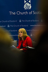 Pictured:  Trisha McGonalouge from Bridging <br /> <br /> The People Politics Hustings,  organised by the Church of Scotland, allowed voters to question SNP deputy John Swinney, Scottish Labour leader Kezia Dugdale, Scottish Liberal Democrat leader Willie Rennie, Scottish Greens co-convener Patrick Harvie and former Scottish Conservatives leader Annabel Goldie ahead of the Scottish Elections. Before the politicians had a chance to speak they had a chance to listen to five speakers with different viewpoints on how Scotland has supported them in the past and how it should support them in the future..<br /> Ger Harley | EEm 4 April 2016