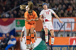 (L-R) Lieke Martens of The Netherlands women, Sofie Junge of Denmark women during the FIFA Women's World Cup 2019 play off first leg qualifying match between The Netherlands and Denmark at the Rat Verlegh stadium on October 05, 2018 in Breda, The Netherlands