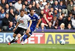 Akaki Gogia of Brentford gets past Craig Forsyth of Derby County - Mandatory byline: Robbie Stephenson/JMP - 07966 386802 - 03/10/2015 - FOOTBALL - iPro Stadium - Derby, England - Derby County v Brentford - Sky Bet Championship