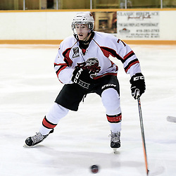 PICKERING, ON - Jan 31 : Ontario Junior Hockey League Game Action between the Pickering Panthers Hockey Club, and Toronto Lakeshore Patriots Hockey Club, Tanner Shaw #7 of the Pickering Panthers Hockey Club skates with the puck<br /> (Photo by Keith White / OJHL Images)