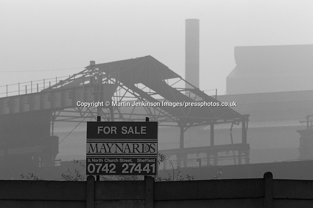 For Sale sign outside the derelict Hadfields Leeds Road works, formerly Brown Bayleys.