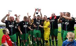 Bristol City celebrate winning the Bristol Fans Derby Cup - Mandatory by-line: Robbie Stephenson/JMP - 04/09/2016 - FOOTBALL - Memorial Stadium - Bristol, England - Bristol Rovers Fans v Bristol City Fans - Bristol Fan Derby