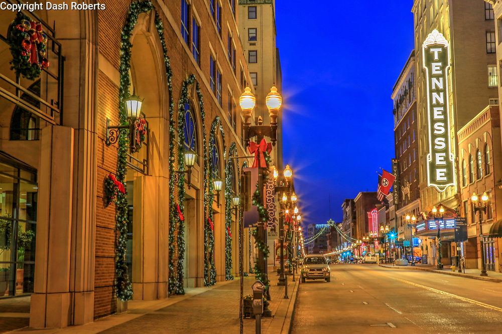 Christmas decorations on Gay Street in Knoxville, Tennessee.