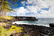 Maui, Hawaii. One of the lava bridges painted by Georgia O'Keeffe which is visible from the coastal trail leading away from Hana towards Koki Park.