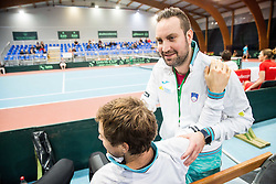 Blaz Kavcic with physiotherapist Miha Mihalic Hami during Day 3 of the tennis matches between Slovenia and Monaco of 2017 Davis Cup Europe/Africa Zone Group II, on February 5, 2017 in Tennis Arena Tabor, Maribor Slovenia. Photo by Vid Ponikvar / Sportida