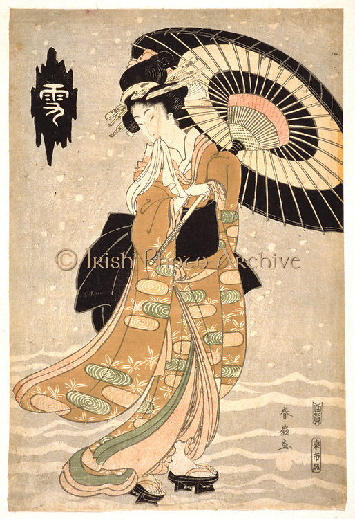 Young woman with parasol in falling snow. Coloured woodblock print from the series 'Snow, Moon and Flowers', c1812.   Katsukawa Shunsen (c1762-1830).