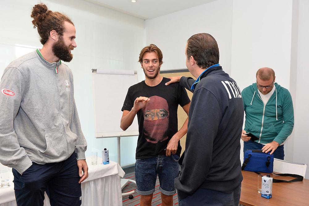 DESCRIZIONE: Berlino EuroBasket 2015 - Allenamento<br /> GIOCATORE: Luigi Datome Giorgio Paltrinieri <br /> CATEGORIA: Conferenza Stampa<br /> SQUADRA: Italia Italy<br /> EVENTO:  EuroBasket 2015 <br /> GARA: Berlino EuroBasket 2015 - Allenamento<br /> DATA: 04-09-2015<br /> SPORT: Pallacanestro<br /> AUTORE: Agenzia Ciamillo-Castoria/M.Longo<br /> GALLERIA: FIP Nazionali 2015<br /> FOTONOTIZIA: Berlino EuroBasket 2015 - Allenamento