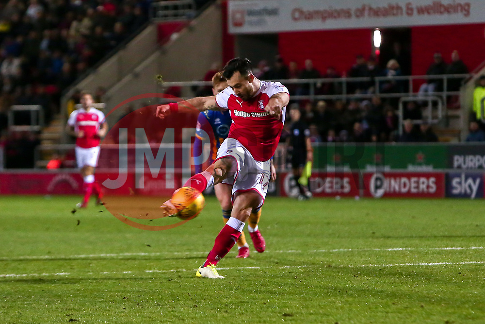 Richie Towell of Rotherham United shoots to score the equaliser against Shrewsbury Town - Mandatory by-line: Ryan Crockett/JMP - 18/11/2017 - FOOTBALL - Aesseal New York Stadium - Rotherham, England - Rotherham United v Shrewsbury Town - Sky Bet League One