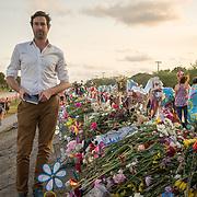 TUESDAY, FEBRUARY 27- 2018---PARKLAND, FLORIDA--<br /> Der Spiegel writer Christoph Scheuermann at Marjory Stoneman Douglas High School  the site  of the February 14 school massacre.<br /> (Photo by Angel Valentin/FREELANCE)
