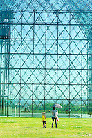 The giant glass pyramid is one of many 'statues' in the Moerenuma Park, designed by the famous Japanese sculptor Isamu Noguchi.
