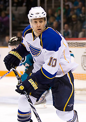 January 6, 2010; San Jose, CA, USA; St. Louis Blues center Andy McDonald (10) during the third period against the San Jose Sharks at HP Pavilion.  San Jose defeated St. Louis 2-1 in overtime. Mandatory Credit: Jason O. Watson / US PRESSWIRE