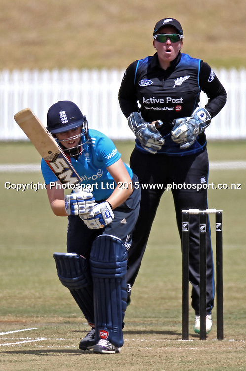 White Ferns wicketkeeper Rachel Priest reacts as England's Heather Knight plays a shot. 1st one day international, womens cricket match at Bay Oval, Mt Maunganui, 11 February 2015. Copyright Photo: Margot Butcher / www.photosport.co.nz