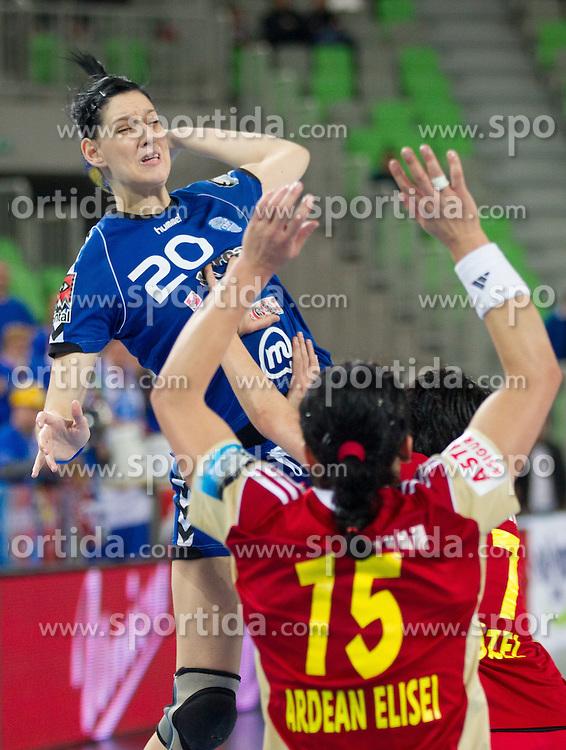 Alja Koren of Krim Mercator during handball match between RK Krim Mercator and CS Oltchim RM Valcea (ROU) of Women's EHF Champions League 2011/2012, on February 4, 2012 in Arena Stozice, Ljubljana, Slovenia. (Photo By Vid Ponikvar / Sportida.com)