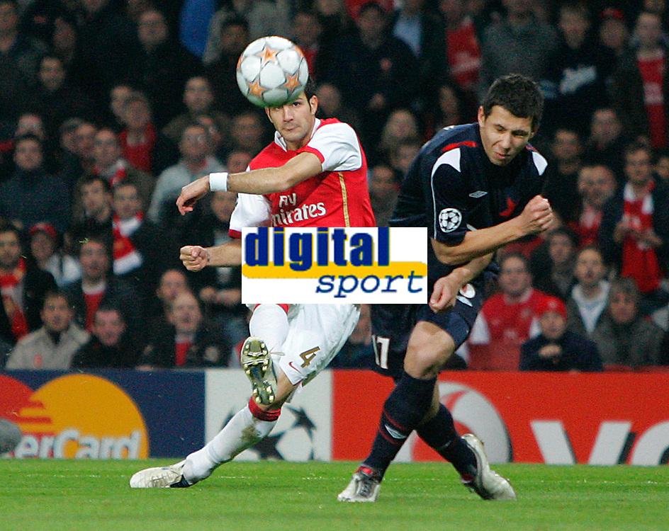 Photo: Tom Dulat.<br /> Arsenal v Slavia Prague. Group H, UEFA Champions League. 23/10/2007.<br /> Cesc Fabregas scores opener for Arsenal, 1-0