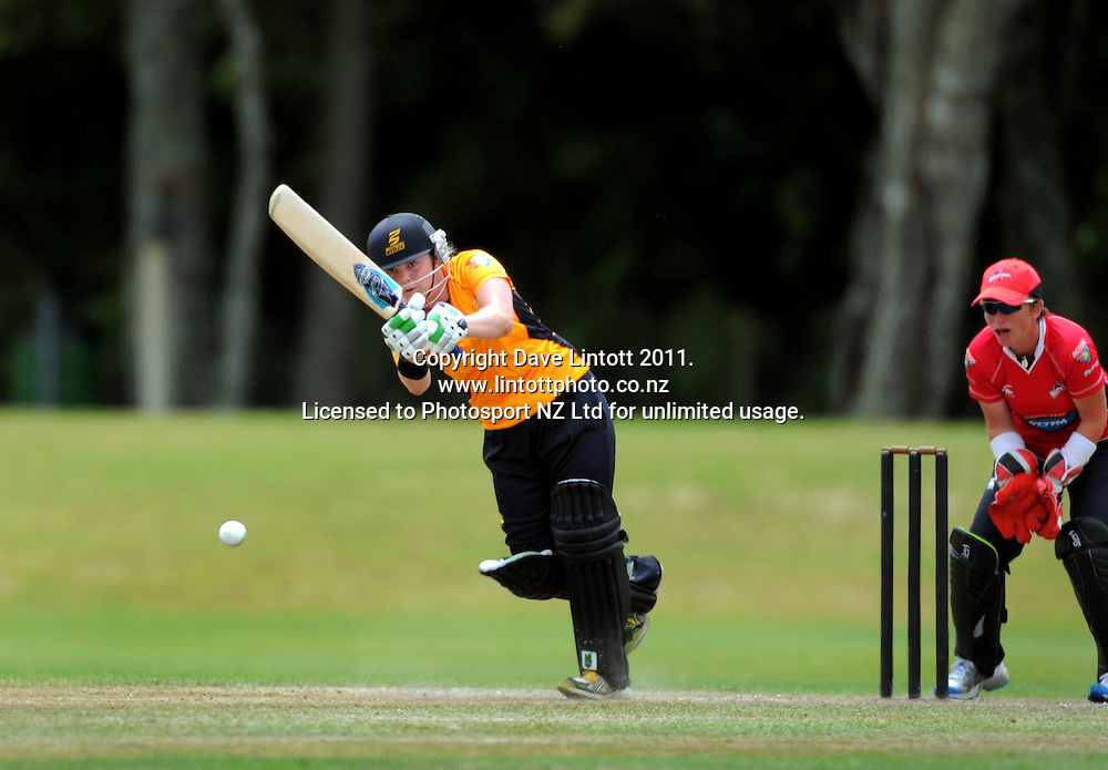 Wellington's Lucy Doolan. Women's Twenty20 cricket - Wellington Blaze v Canterbury Magicians at Barton Oval, Upper Hutt, Wellington on Tuesday, 4 January 2011. Photo: Dave Lintott / photosport.co.nz