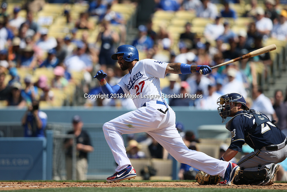 LOS ANGELES, CA - APRIL 28:  Matt Kemp #27 of the Los Angeles Dodgers bats during the game against the Milwaukee Brewers on Sunday, April 28, 2013 at Dodger Stadium in Los Angeles, California. The Dodgers won the game 2-0. (Photo by Paul Spinelli/MLB Photos via Getty Images) *** Local Caption *** Matt Kemp