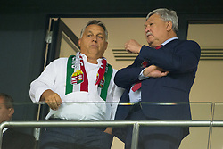 September 3, 2017 - Budapest, Hungary - Viktor Orban Prime Minister of Hungary talks with Csanyi Sandor President of the Hungarian Football Federation during the FIFA World Cup 2018 Qualifying Round match between Hungary and Portugal at Groupama Arena in Budapest, Hungary on September 3, 2017  (Credit Image: © Andrew Surma/NurPhoto via ZUMA Press)