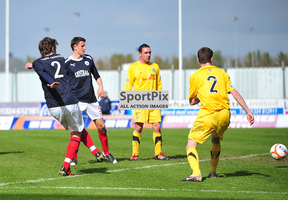 Blair Alston (Falkirk, blue,2) scores the third goal for the home side..Falkirk v Ayr, SFL 1st Division, Saturday 5th May 2012..ALEX TODD | STOCKPIX.EU