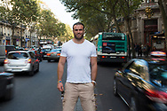 Jamie Roberts, the Welsh international rugby union player, in a Paris café. Roberts plays for the Racing Métro 92 club in the French Top 14. Paris, France. 09/10/2014.