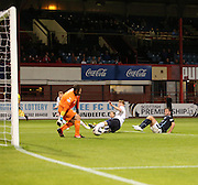 Peter MacDonald (right) scores Dundee's third goal - Dundee v Raith Rovers, Scottish League Cup at Dens Park<br /> <br />  - &copy; David Young - www.davidyoungphoto.co.uk - email: davidyoungphoto@gmail.com