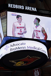 14 February 2016: Center court scoreboard is finally completed with the bottom banner and corner fill panels during the Illinois State Redbirds v Bradley Braves at Redbird Arena in Normal Illinois (Photo by Alan Look)