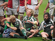 Reading, GREAT BRITAIN, Exiles, Peter RICHARDS [centre, looks up at the referee, during the Guinness Premiership game, London Irish vs Harlequins, 19.04.2008 [Mandatory Credit Peter Spurrier/Intersport Images]